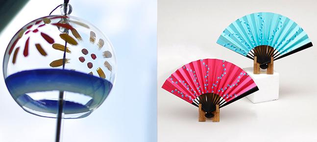 With coolness felt by all 5 senses & Edo style. Edo Wind Chimes, Edo Fans