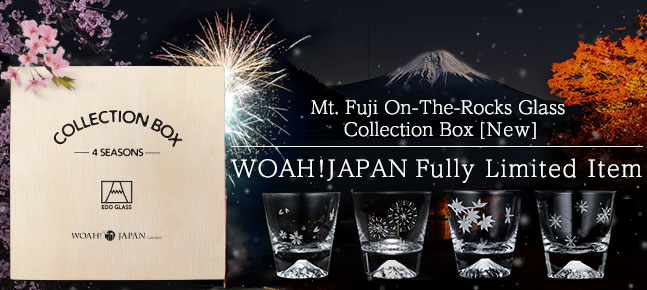 [Very Rare!]Edo Glass Mt. Fuji On-The-Rocks Glass, Japan 4Seasons Collection Box[New] [Fully Limited Item]